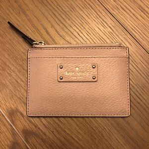 Kate Spade New York Leather Card Holder in Beige